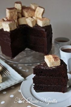 hot chocolate spiced layer cake with marshmallows.  the chocolate cake has cayene pepper, cinnamon, and black pepper