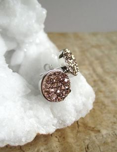 WANT!! Rose Gold Druzy Earrings Titanium Drusy Quartz Studs Sterling Silver Bezel Set
