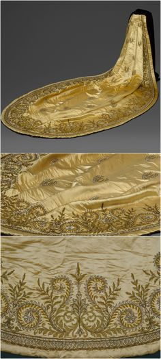 Court train, French, 1860s, at the Metropolitan Museum of Art. Silk, bronze, glass. CLICK THROUGH FOR HUGE, HI-RES IMAGES.