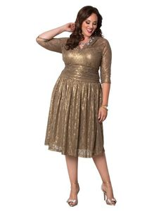 b9ea87a7027 AFter the wedding dress Kiyonna Women s Plus Size Limited Edition Metallic  Maven Lace Dress 0X Maple