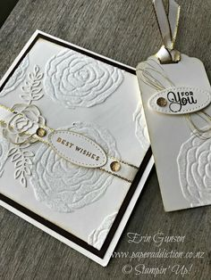 Erin Gunson Stampin Up Independent Demonstrator www.paperaddicrion.co.nz Sweet Soirée and Shimmery White embossing paste