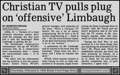 Vintage Toledo TV - Random Pages - Jennifer Feehan story (Thu 2/9/95 Blade Front Page Story). #RushLimbaugh #Christian #TV #station
