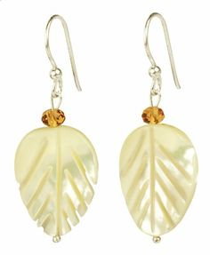 Mother-Of-Pearl Leafs with Amber Glass Rondelle Earrings - Fashion Jewelry