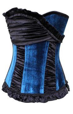 Velvet Fashion Corset in Steel bone