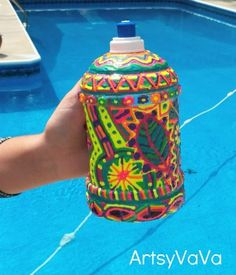 Puff Paint Water Bottles -- a great party or team builder  activity!