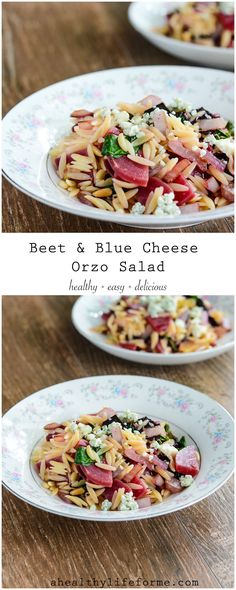 Beet and Blue Cheese Orzo Salad is a light, healthy and delicious summer salad. Filled with refreshing and delicious flavors like summer beets, blue cheese, caramalized onions and lemon.- A Healthy L (Blue Cheese Bites) Summer Salad Recipes, Easy Salad Recipes, Easy Salads, Side Dish Recipes, Side Dishes, Delicious Recipes, Pasta Recipes, Main Dishes, Healthy Recipes