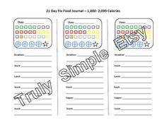 Instant Download PDF File  / 21 Day Fix Tally Sheet / 1800 to 2099 Calories /  $4.50 via Etsy / Track your containers with the Beachbody program. Journal your food.
