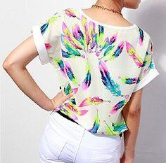 Lookatool Women's Feathers Chiffon Blouse Top Casual Short Sleeve Loose T-Shirt