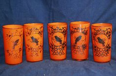 Vintage LOT of 5 CZECH Glass Silver Overlay Bird Orange Drinking Glasses Signed