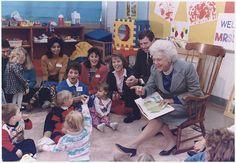 "Mrs. Barbara Bush and Missouri Governor John Ashcroft attend a ""Parents as Teachers"" parent/child group at the Ferguson-Florissant School District in Florissant, Missouri where Mrs. Bush reads ""Brown Bear Brown Bear"" to the children, 10/16/1991."