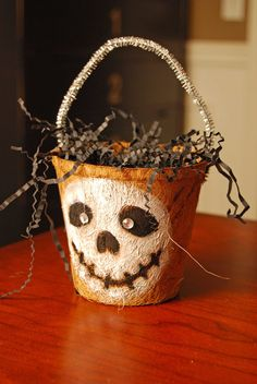 DIY Treat Bucket ~made from those little cheap peat pots you use with gardening. Make for gifts filled with treats or even a birthday!