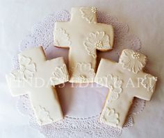 Embroidered Cross Cookie by LindasEdibleArt on Etsy, $36.00