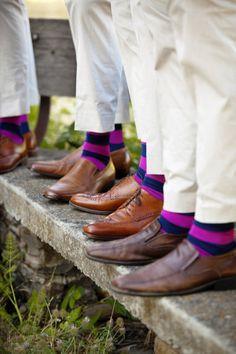 Blue/ purple socks for the groomsmen ;)