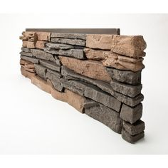 GenStone Stacked Stone Keystone 12 in. x 38 in. Faux Stone Siding Corner Panel Right Charcoal Gray Base With Red And Tan Hues Faux Stone Veneer, Faux Stone Siding, Stacked Stone Panels, Dry Stack Stone, Fake Stone, Donia, My New Room, Home Remedies, Home Depot