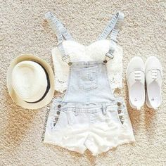 Lace crop top, light demin overall shorts, white shoes, and a panama hat <3