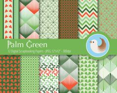 Verde Palma de papel Digital - sistema de papel Digital naranja y verde - papel Digital verde - Set de 12 papeles de Scrapbooking Digital