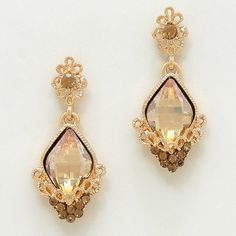 Gold Peach Drop Earrings