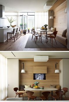 Dining Room Design Ideas - Use Built-In Banquette Seating To Save Space // Light wood paneling lines the wall and bench of this built-in dining nook. Built In Dining Room Seating, Dining Booth, Banquette Seating In Kitchen, Dining Room Walls, Dining Room Design, Bench Seat Dining Room, Wall Bench, Living Room, Dining Room Images