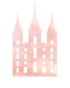 Pink watercolor silhouette of an LDS temple  $1