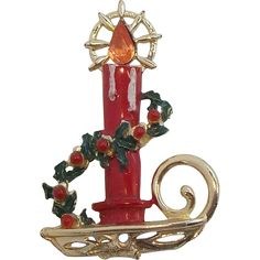 Hedy Red Enameled Christmas Candle & Holly Brooch  1960's.  Jewelry under $25 at Ruby Lane @Ruby Lane