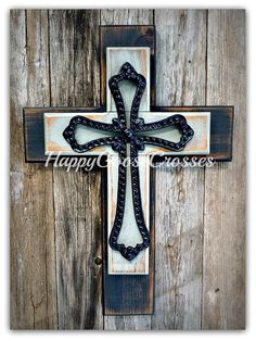 Wall Cross - Wood Cross - Small - Rustic Antiqued Black and Gray, with large black iron cross Wooden Crosses, Crosses Decor, Wall Crosses, Black Wood, Black And Grey, Large Black, Cross Wall Decor, Cross Art, Custom Items