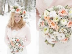 Winter Bride with flowercrown and Vintage flower bouquet flowers: www.tabeamarialisa.ch photo: www.andreakuehnis.com