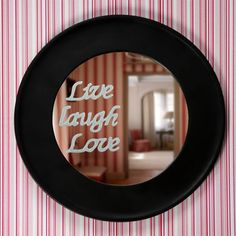 Live Laugh Love mirror #crafts #mirror #DIY (buy wall decals at dollar store and attach)