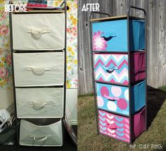 Dingy boring canvas bins? Here's the solution: paint! Look how cute these are now!