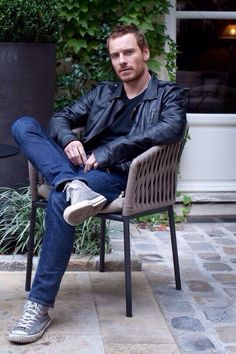 Michael Fassbender (Converse and leather, be still my heart)