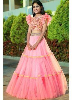 Indian Gowns Dresses, Indian Fashion Dresses, Indian Designer Outfits, Net Dresses, Kids Blouse Designs, Designs For Dresses, Crop Top Designs, Half Saree Designs, Lehenga Designs