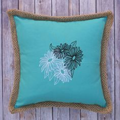 Engraved Daisy Teal Cotton Pillow by mycousinmadeit on Etsy