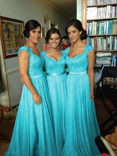 Turquoise Chiffon Corset Long Bridesmaids Dress, Formal Prom Evening Dress