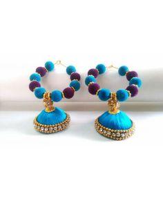 Dajwa Silk thread jewellery earring jhumka by DajwaHomeCrafts