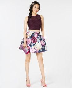 Speechless Juniors' Lace-Contrast Floral-Print 2-Pc. Dress - Blue 5