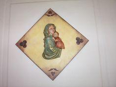 La Virgen y el Niño Decoupage, Painting, Art, Crates, Manualidades, Art Background, Painting Art, Kunst, Paintings