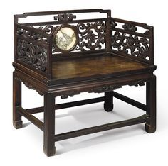 A HONGMU AND MARBLE-INLAID THRONE-STYLE ARMCHAIR QING DYNASTY, 19TH CENTURY