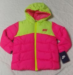 Nike Winter Coats, Nike Winter Jackets, Neon Yellow, Hot Pink, The North Face, Kids Fashion, Brand New, Pink, Junior Fashion