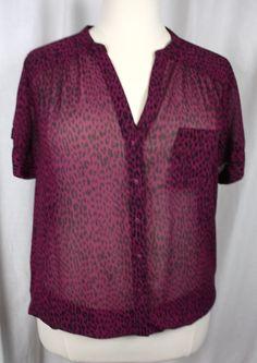 Torrid Womens Shear Animal Print Short Sleeve V Neck Button Front Blouse Torrid  #Torrid #Blouse #Versatile