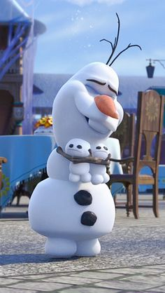 Why aren't those snowgies smiling I would be if I were being hugged by OLAF!! -Katie Reid