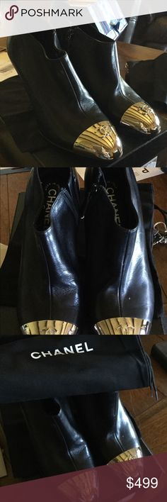 Gorgeous authentic Chanel ankle boots back CC logo These are so classy and great to kick someone under the table, lol. Nice metal CC logo caps in front. Size 36/6 and in my opinion they run true to size! EUC, black and silver, side zip. CHANEL Shoes
