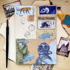 Продолжаем в морской тематике. Юля лови ⚓️#Kaliningrad #mailart #stamp #washitape #snailmail #envelope #collage #vintage #craft #ceramic #penpals #postcard #sea #fish #outgoing