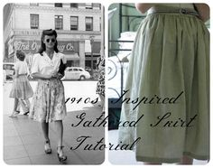 My 1940s Inspired Gathered Skirt Sewing Tutorial is now live on the blog!