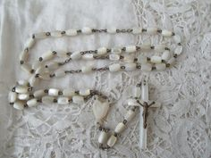 Antique rosary Mother of pearl 1910 by Nkempantiques on Etsy