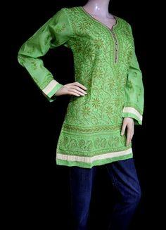 ISHIEQA's Designer Green Chanderi Chikankari Top - MC0101D A Line Kurti, Types Of Stitches, Short Tops, Green Fabric, Green Cotton, Cotton Shorts, Shoulder Tops, Cold Shoulder, Tunic Tops