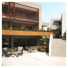 Metal decorative panels with particular patterns cover large pieces of the building; while the panels offer protection, at the same time they create shapes against the daylight. Imperial Palace, Entrance Design, Pool Bar, Decorative Panels, Restaurant Bar, Facade, Architecture Design, Exterior, Shapes