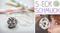 Fünfecke zu Schmuck machen? Mit Hilfe von Perlen oder Strohhalmen geht das ganz einfach. Egal ob Kettenanhänger oder Mobile! mobile Endcard: Kette aus Perlen...