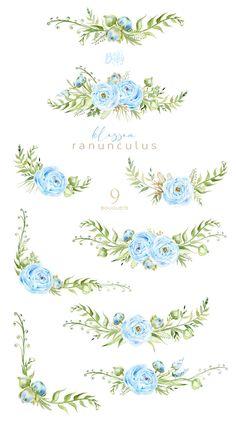 Watercolor Cards, Watercolor Illustration, Watercolor Flowers, Baby Clip Art, Decoupage Vintage, Floral Border, Clipart Baby, Floral Bouquets, Nursery Art