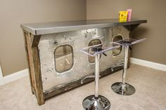 a bar I designed for a bonus room, aviation theme thru-out home more pics to… Airplane House, Airplane Room, Airplane Decor, Metal Furniture, Industrial Furniture, Aviation Furniture, Aviation Theme, Ikea Design, Repurposed Wood