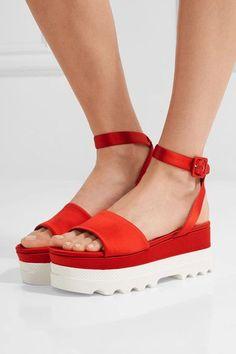 Miu Miu - Satin Platform Sandals - Red - IT41