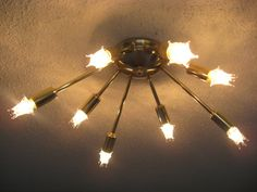 50s Lighting Fixtures | ... Flush Mount Ceiling Light - Mid Century Atomic Starburst Light 50s 60s